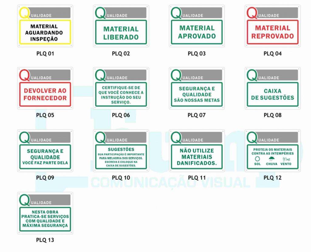placas para a organização na obra